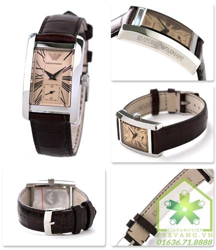 Đồng hồ Armani nữ AR0155 mặt nâu đồng, dây da vân nâu.