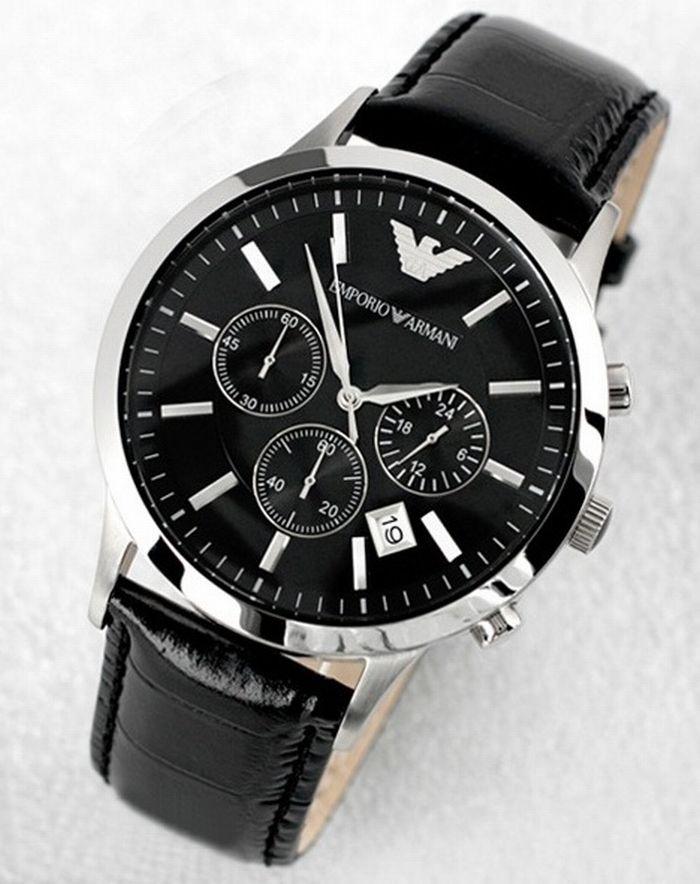 Đồng hồ Armani nam AR2446 mặt đen, dây đeo da cao cấp.