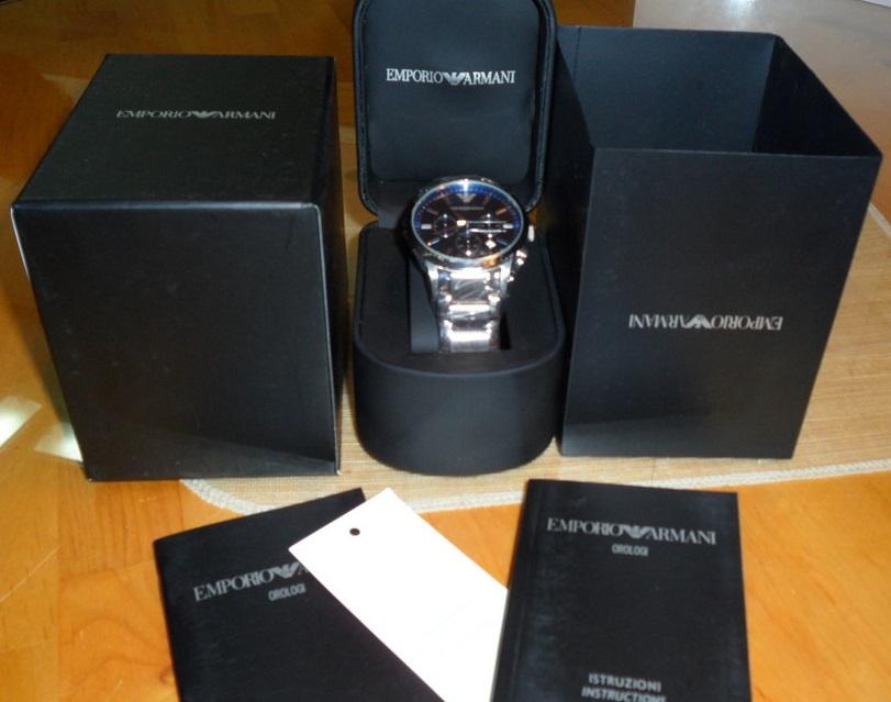 Đồng hồ ARMANI nam AR2448 mặt kính xanh Navy set full box.