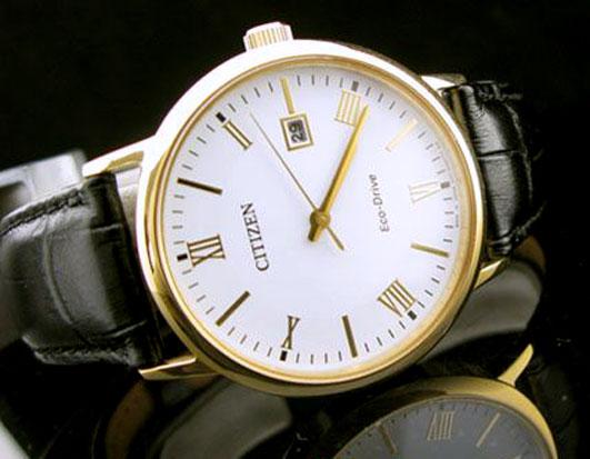 Đồng hồ Citizen nam BM6772-05A dây đeo da vỏ mạ vàng cao cấp.