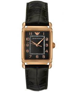 Đồng hồ nữ cao cấp Armani AR0454 vỏ vàng đồng dây da đen.