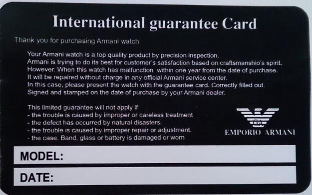 Thẻ bảo hành chính hãng của Armani