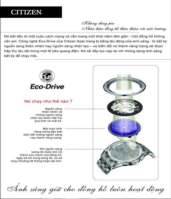 Đồng hồ Citizen nam AT0787-55F Công nghệ Eco-Drive hiện đại