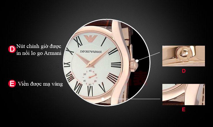 Hình ảnh chi tiết mặt trước đồng hồ Armani nam AR0293 cá tính.