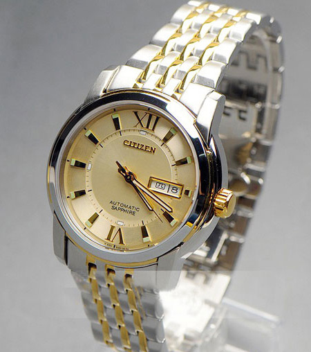 Đồng hồ cơ chính hãng Citizen Automatic NH8338-GOLD chéo phải
