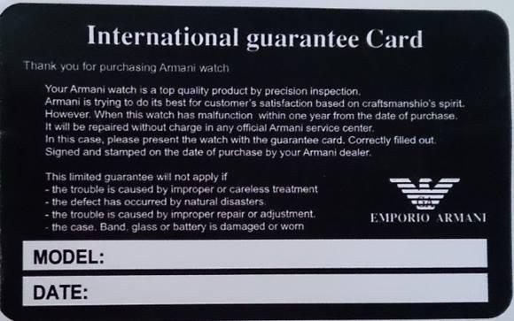 Thẻ bảo hành chính hãng đồng hồ Armani