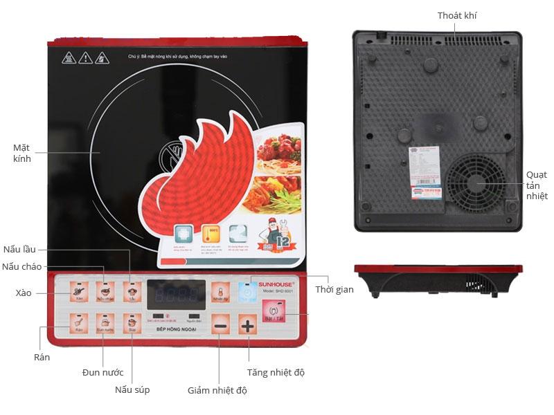 Bếp hồng ngoại Sunhouse SHD 6001 chế độ hoạt động đầy đủ