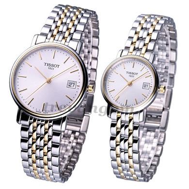 Đồng hồ đôi Tissot T52.2.481.31 và T52.2.281.31 sợi vàng trắng