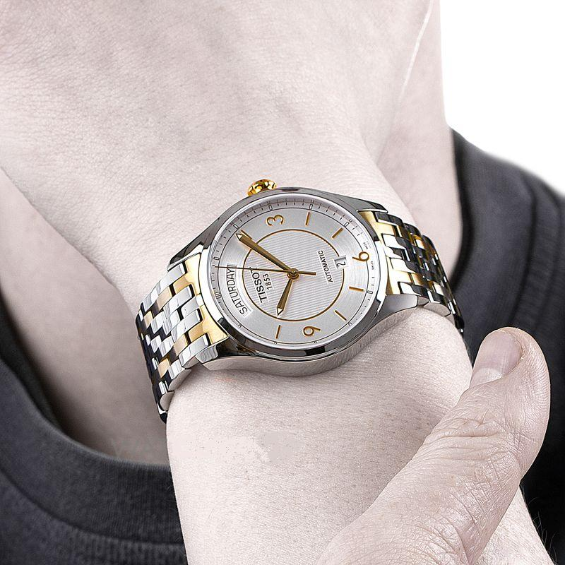 Đồng hồ TISSOT 1853 T038.430.22.037.00 nổi bật lịch lãm trên tay mẫu ảnh.