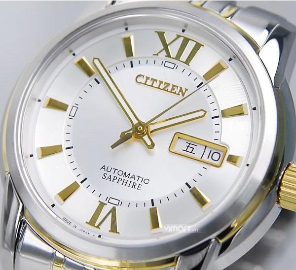 Đồng hồ Citizen nam NH8338 Balck Gold kính sáng