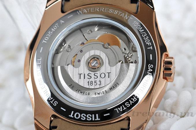 """Đồng hồ cơ nam Tissot 1853 T035.407.36.051.00 mặt lưng """"hở""""."""
