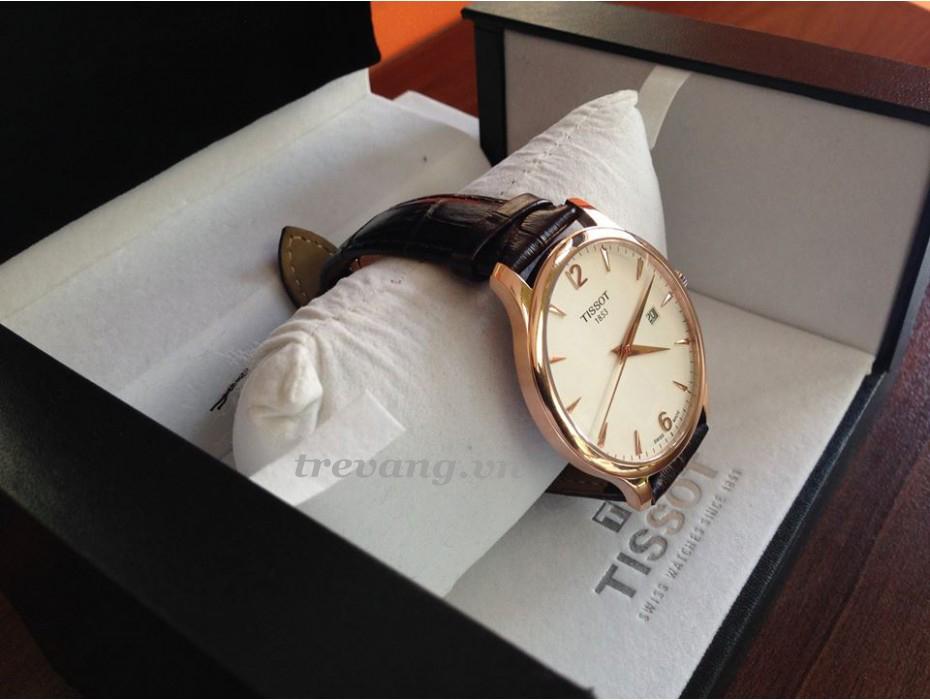 Đồng hồ Tissot 1853 T063.610.36.037.00 và box sang trọng.