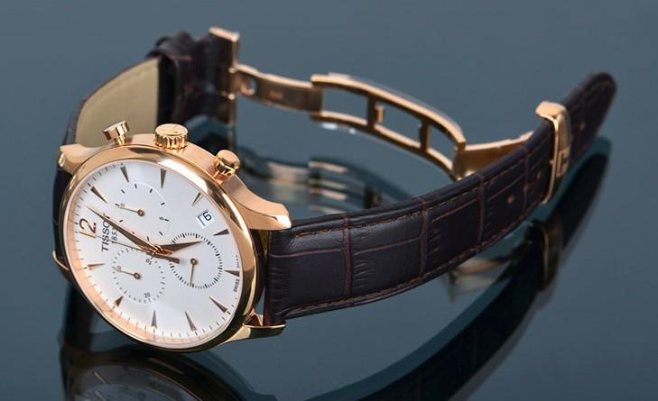 Đồng hồ Tissot T063.610.36.037.00 gold dây da đẹp