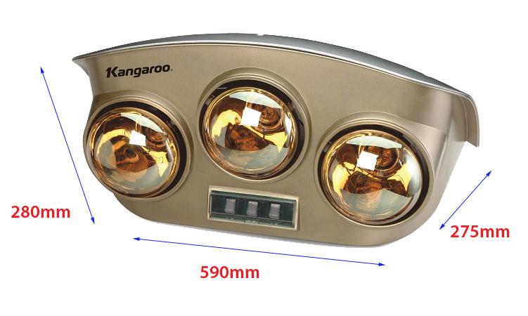 Đèn sưởi nhà tắm Kangaroo KG251 kích thước
