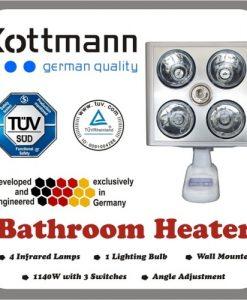 Đèn sưởi nhà tắm Kottmann 4 bóng bạc hồng ngoại K4B-S