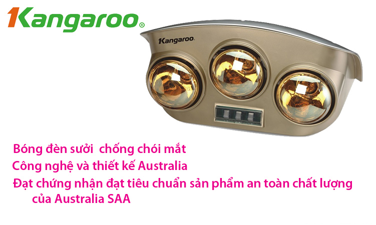 Đèn sưởi nhà tắm Kangaroo KG251 công nghệ Australia