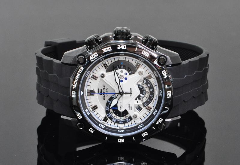 Đồng hồ Casio nam EF-550PB-7A mặt trắng dây nhựa đen