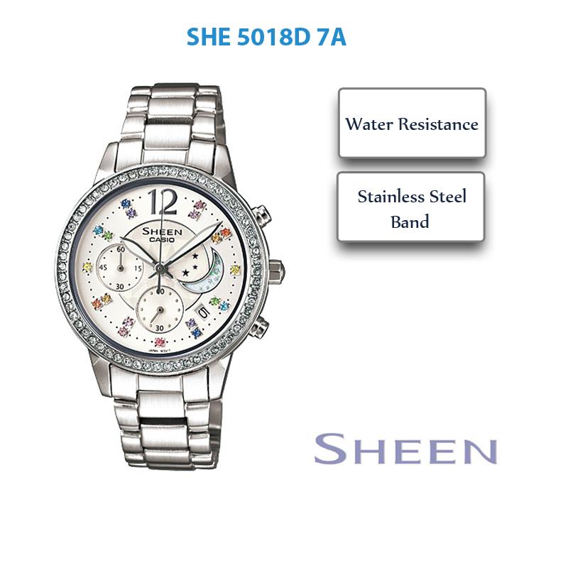 Đồng hồ Casio nữ SHE-5018D-7A pha lê lung linh, lấp lánh cho nàng Ma Kết điệu đà