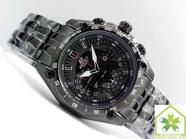 Đồng hồ nam Casio EF-550BG-1A mặt đen sang trọng