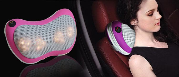 Gối massage hồng ngoại Pillow PL-819B có thể dùng trên ô tô.