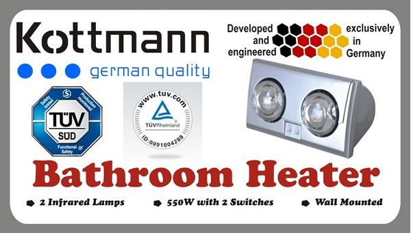 Đèn sưởi nhà tắm Kottmann 2 bóng phủ bạc độc quyền Đức