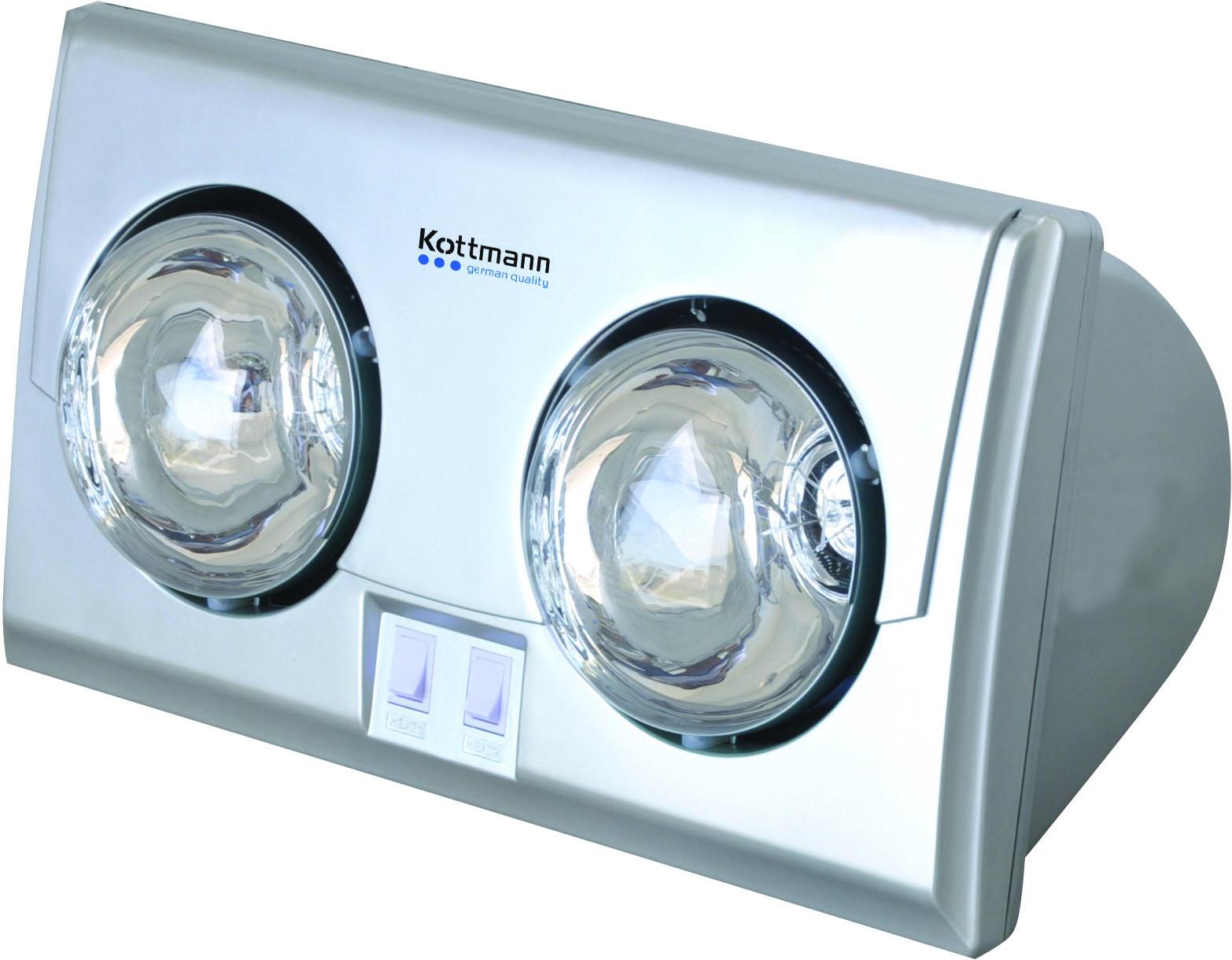 Đèn sưởi nhà tắm Kottmann 2 bóng bạc hồng ngoại
