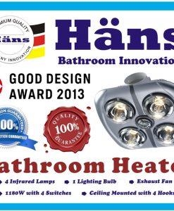 Đèn sưởi nhà tắm Hans Đức H4B176 hồng ngoại 4 bóng