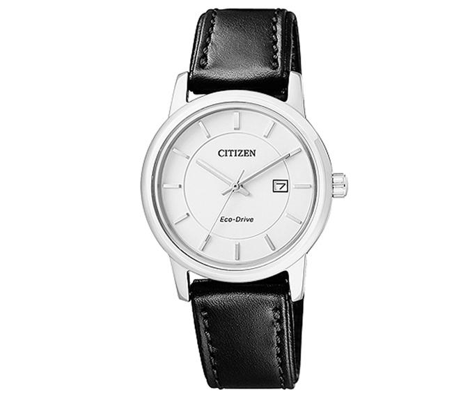 Đồng hồ Citizen EW1560-56A mặt trắng, dây da đen.