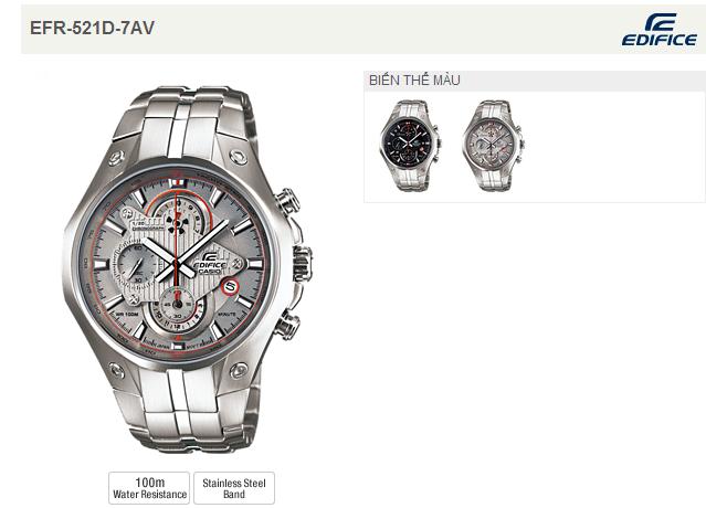 Đồng hồ nam Casio EFR-521D-7A Tachymeter phong cách 2 mã màu.