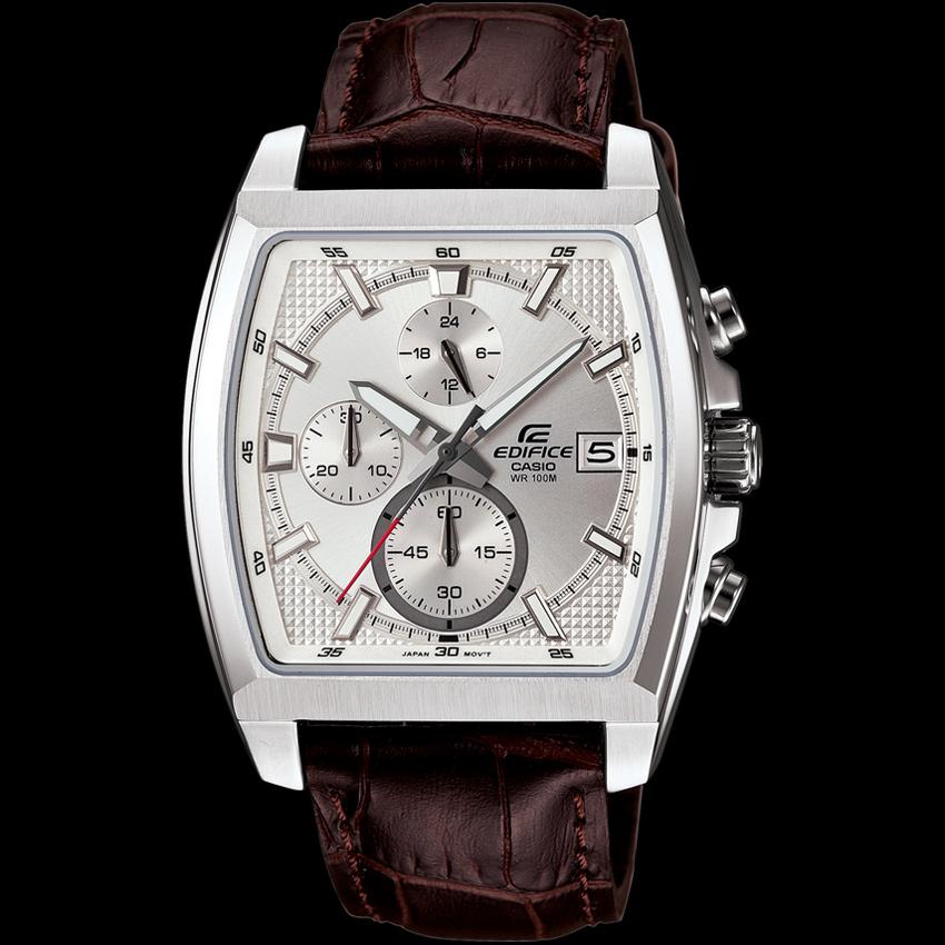 Đồng hồ nam Casio EFR-524L-7AV mặt trắng dây nâu.
