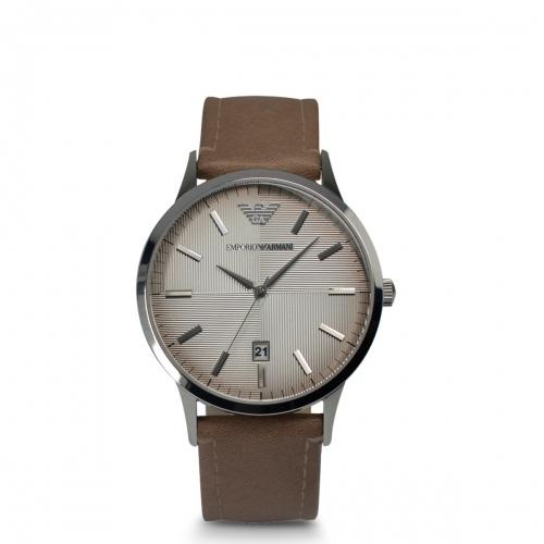 Đồng hồ nam Armani AR2470 thiết kế mặt tròn cổ điển cùng dây da nâu