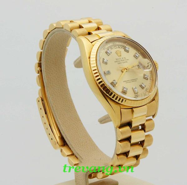 Đồng hồ nam Rolex R504 mạ vàng đính đá