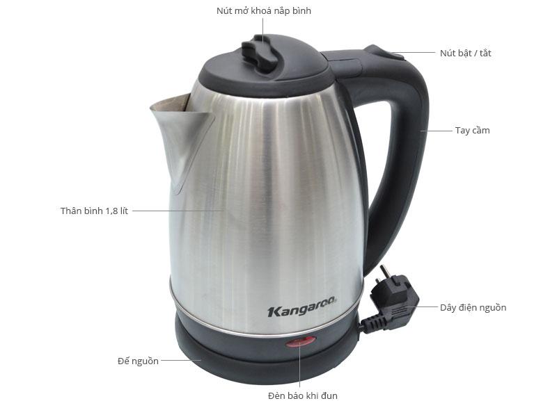 Ấm đun nước siêu tốc Kangaroo KG 339 chi tiết từng phần.