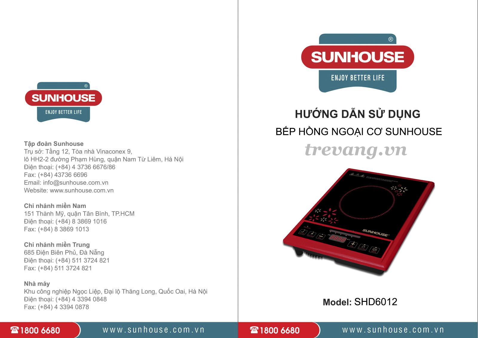 Bếp hồng ngoại cơ Sunhouse SHD6012 sách hướng dẫn sử dụng