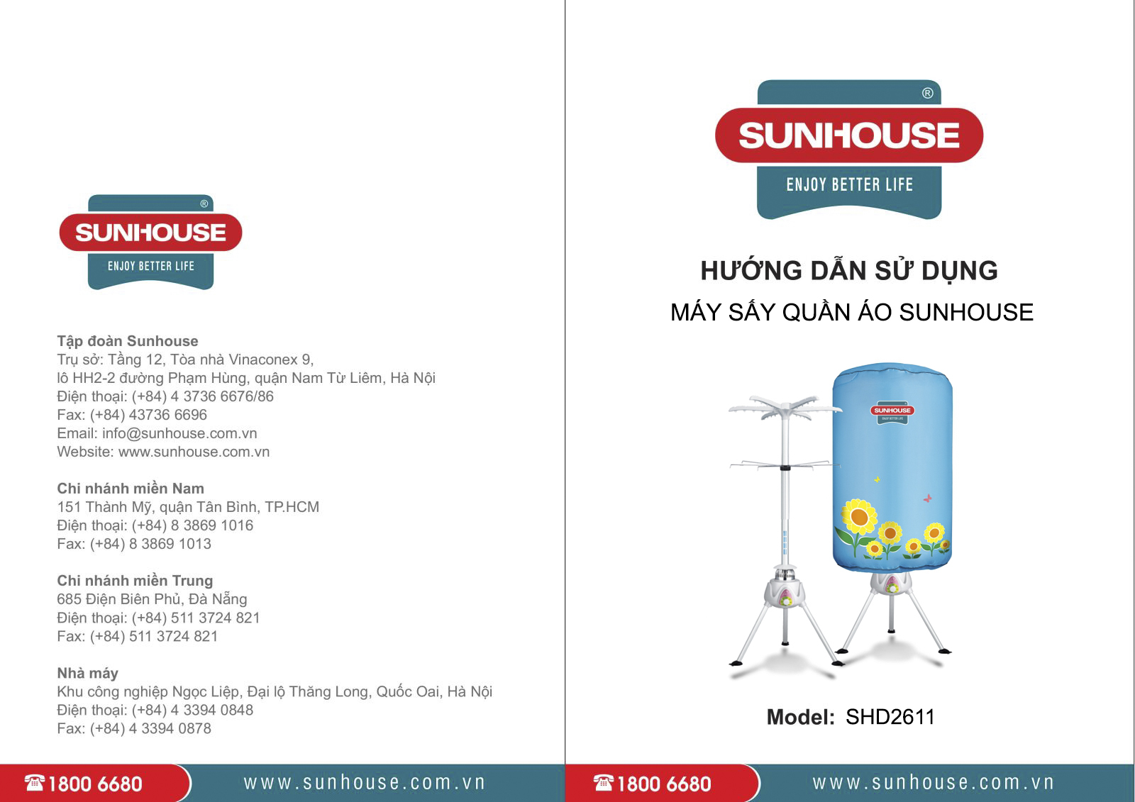 Máy sấy quần áo Sunhouse SHD2611 cùng sách hướng dẫn