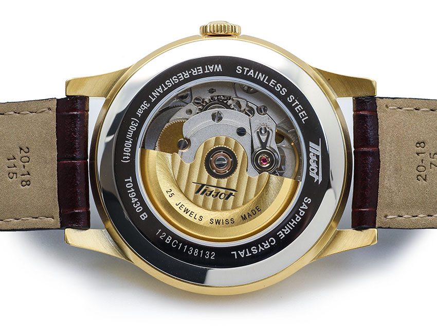 Đồng hồ tissot T019.430.36.031.01 automatic mặt sau