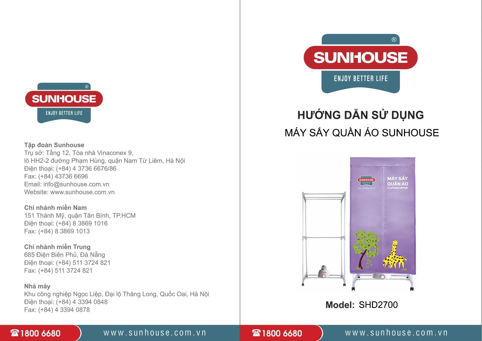 Máy sấy quần áo Sunhouse SHD2700 sách hướng dẫn sử dụng