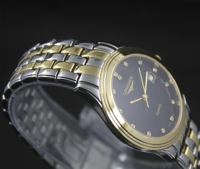 Đồng hồ Longines L4.774.3.00.3 mặt đen vỏ mạ vàng
