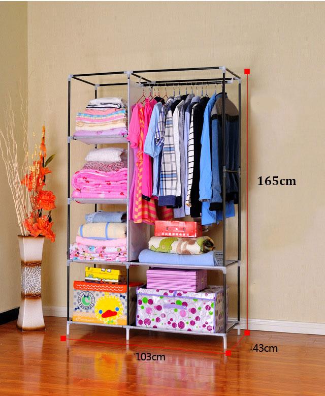 Tủ quần áo 2 buồng, 6 ngăn khung hình rộng