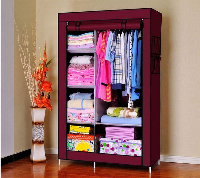 Tủ quần áo 2 buồng, 6 ngăn màu đỏ