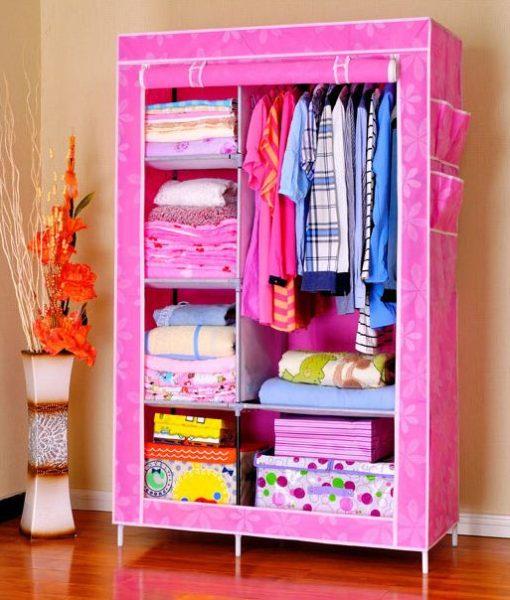 Tủ quần áo 2 buồng, 6 ngăn màu hồng