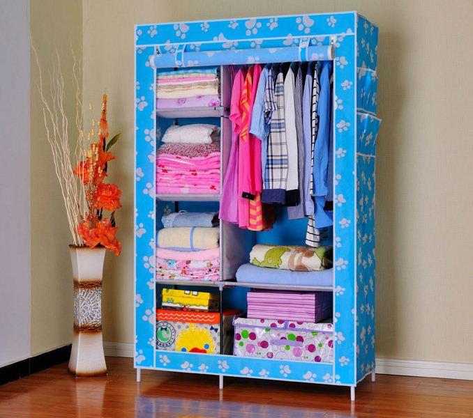 Tủ quần áo 2 buồng, 6 ngăn màu xanh