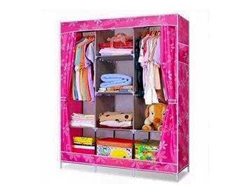 Tủ quần áo 3 buồng, 8 ngăn màu hồng