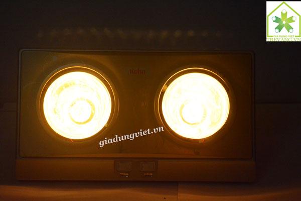 Đèn sưởi nhà tắm Braun KN02G bật 2 bóng