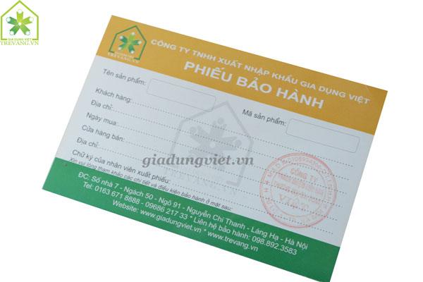 Phiếu bảo hành Gia Dụng Việt