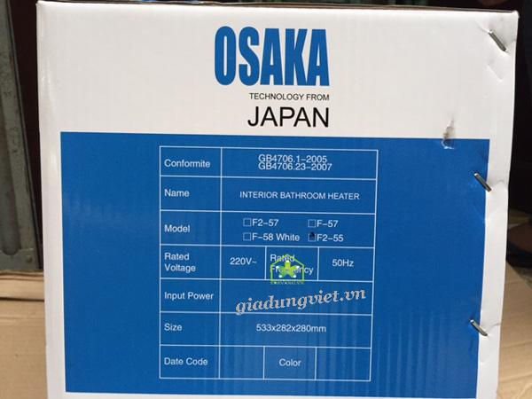 Đèn sưởi nhà tắm Osaka 2 bóng Nhật Bản