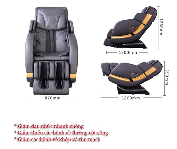 Ghế massage toàn thân Shika 3D SK8902 kích thước