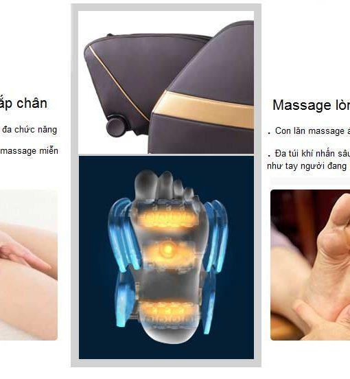 Ghế massage toàn thân SHIKA 3D 8905 phần chân