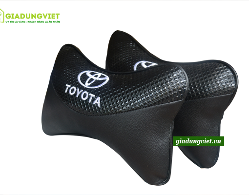Gối tựa đầu ô tô logo Toyota bằng da