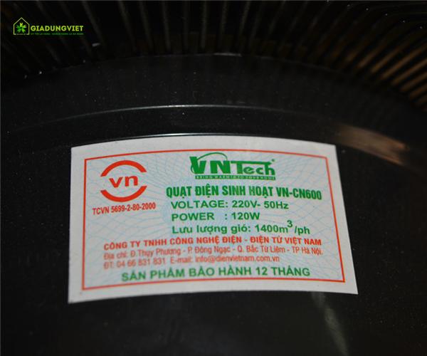 Quạt đứng Vntech VN-CN600 tem